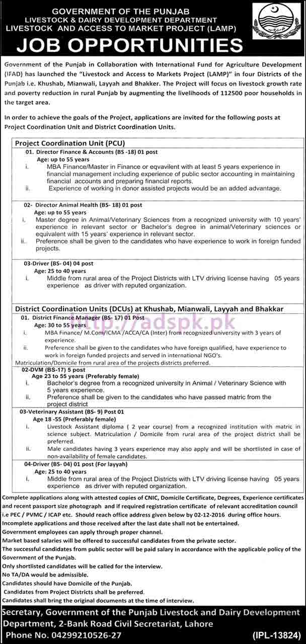New Career Jobs Govt. Of Punjab Livestock And Dairy Development Department  LAMP Project Khushab Mianwali