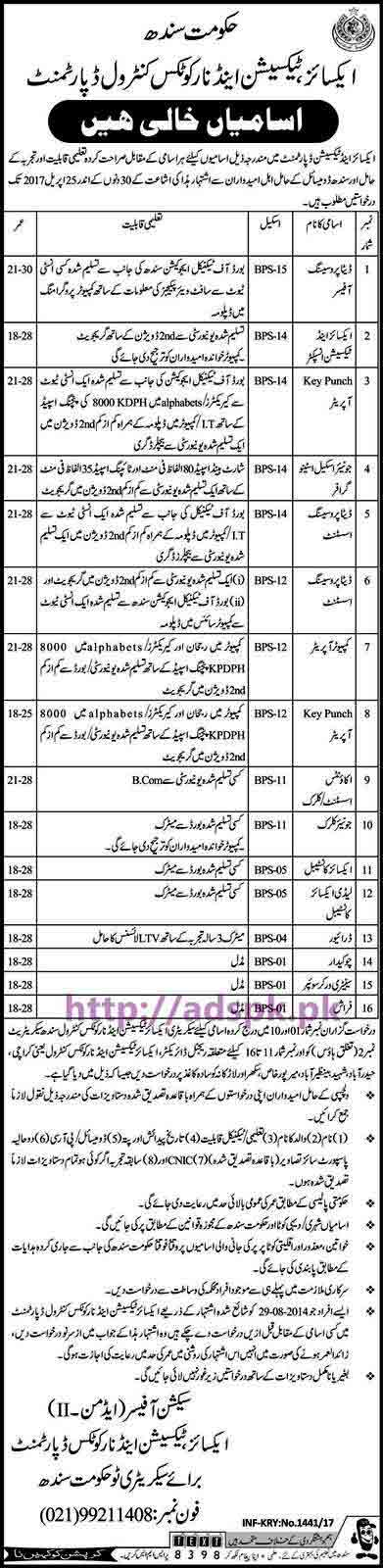 New Career Jobs Govt. of Sindh Excise Taxation and Narcotics Control Department Jobs for BPS-01 to BPS-15 Jobs Data Processing Officer Excise & Taxation Inspector KPO Stenographer and Other Staff Application Deadline 25-04-2017 Apply Now