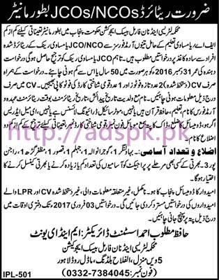 New Career Jobs Literacy and Non Formal Basic Education Punjab Govt. Jobs for Monitor (Eligibility Retired NCOs & JCOs) Application Deadline 03-02-2017 Apply Now