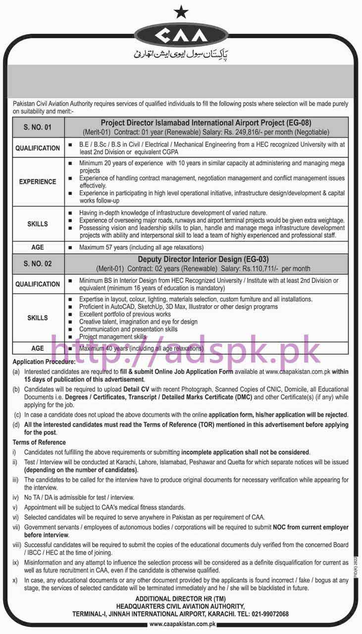 New Career Jobs Pakistan Civil Aviation Authority Jobs For Project Director Islamabad