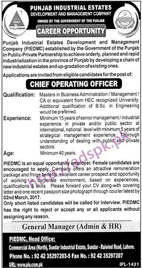 New career jobs punjab industrial estates development and management company piedmc lahore jobs - Chief operating officer jobs ...