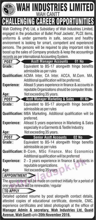New Career Jobs Wah Industries Limited Wah Clothing Pvt Ltd Jobs For Assistant Managers