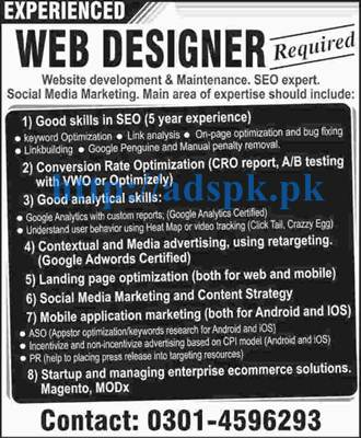 New Career Jobs For Experienced Web Designer Website Development Maintenance Seo Expert Social Media Marketing Skills Apply Now Adspk Pk Very Helpful For Students And Jobless People