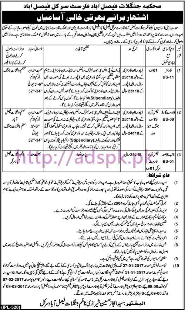 New Careers Excellent Jobs Forest Department Forest Circle Faisalabad Jobs for Forester Forest Guard Naib Qasid Application Deadline 27-01-2017 Apply Now