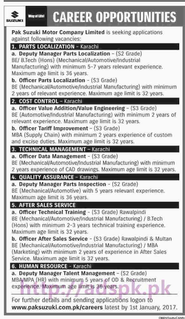 New Careers Excellent Jobs Pak Suzuki Motor Company Limited
