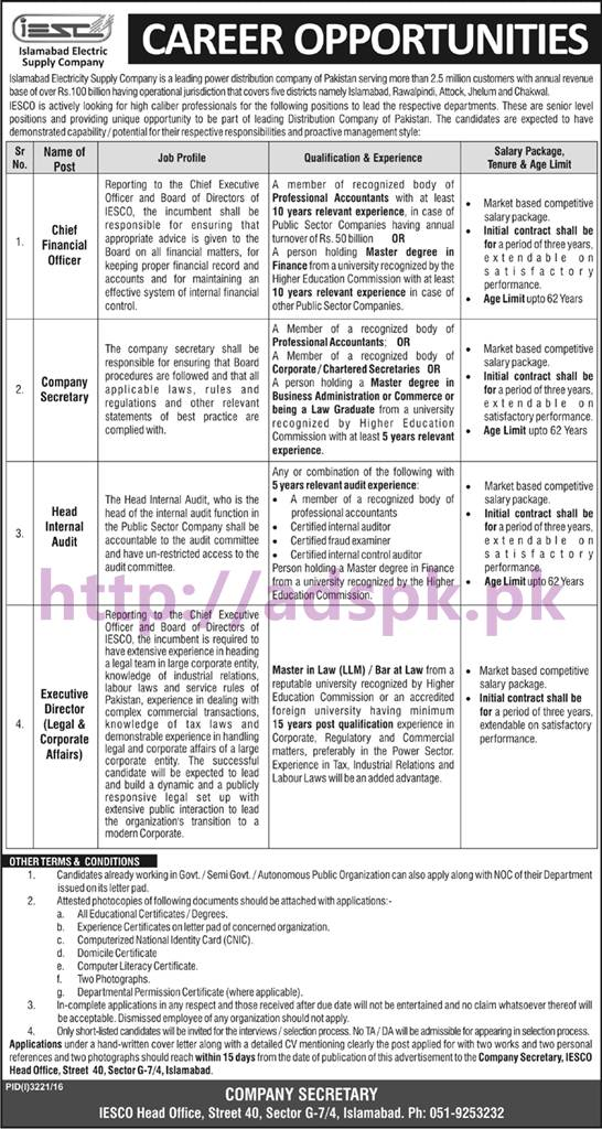 New Careers Iesco Head Office Jobs Islamabad Electricity