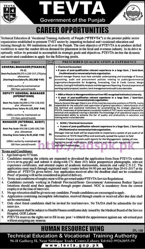 New Careers Jobs TEVTA Punjab Govt. Lahore Jobs for General Manager Finance Deputy General Manager Operations Manager Internal Audit Application Deadline 20-01-2017 Apply Now