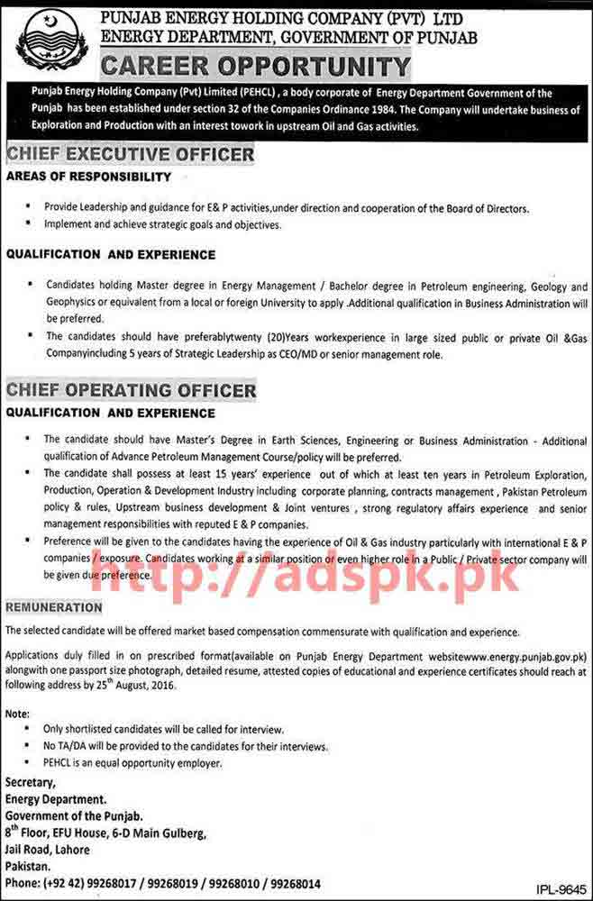New excellent career jobs energy department punjab govt punjab energy holding company pvt ltd - Chief operating officer jobs ...