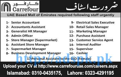 New Excellent Jobs Carrefour Uae Based Mall Of Emirates Jobs For