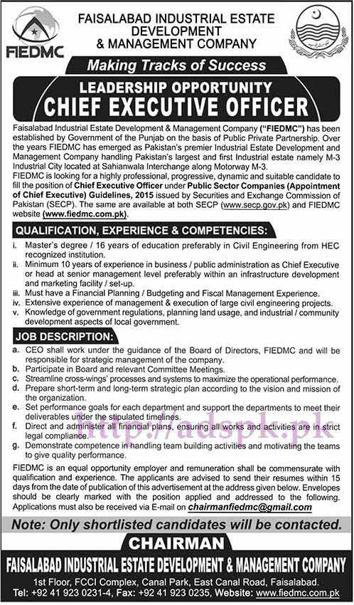 New jobs faisalabad industrial estate development - Job description for chief executive officer ...