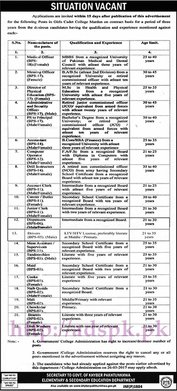 New Jobs Girls Cadet College Mardan Elementary & Secondary Education