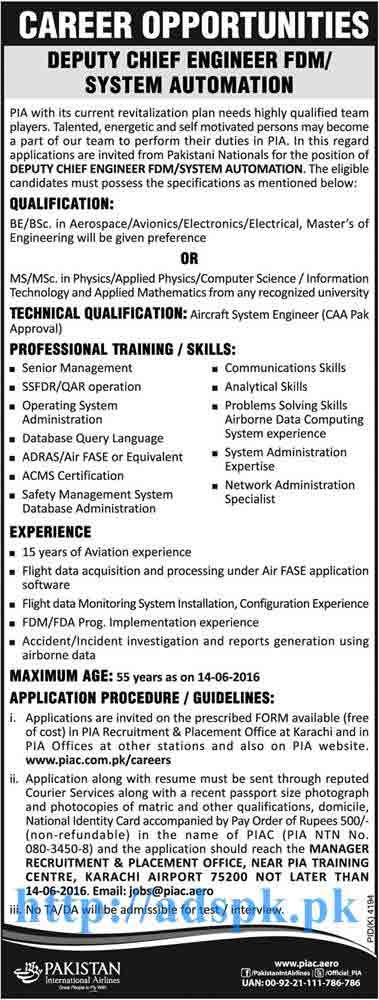 New Jobs Pia Pakistan International Airlines Karachi Jobs  For