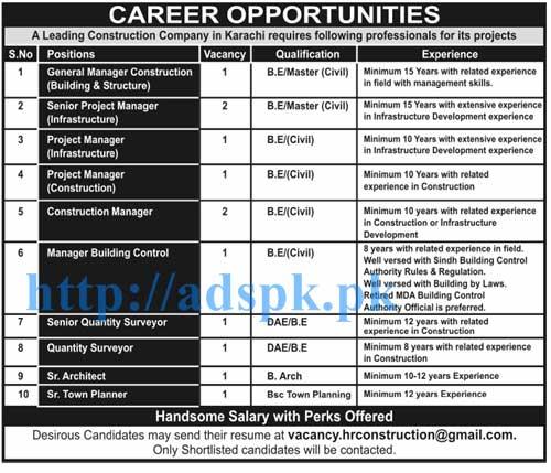 New Jobs in Leading Construction Company Karachi Jobs for