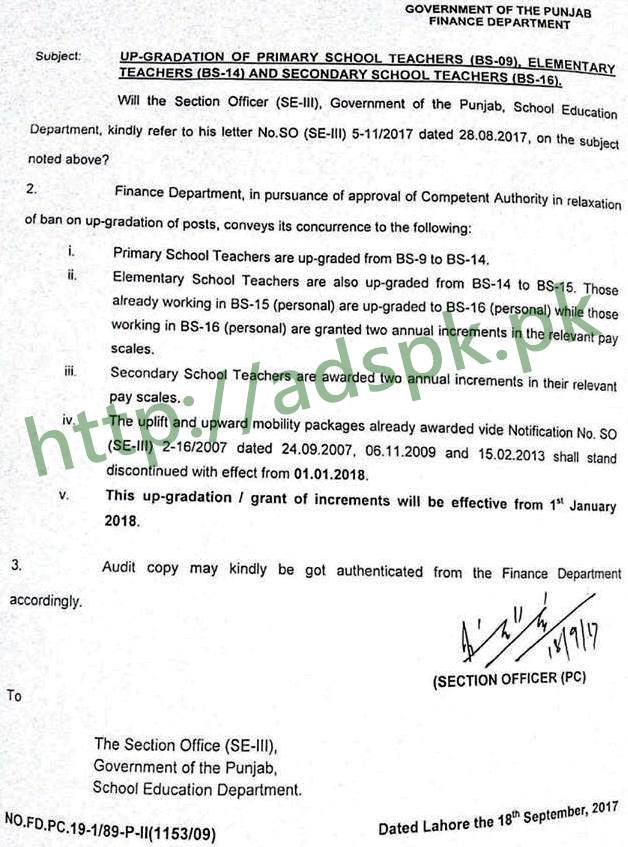 New Notification Finance Department Up-Gradation of Primary School Teachers (BS-09) Elementary Teachers (BS-14) and Secondary School Teachers (BS-16) Notification Dated 18-09-2017 by Punjab Government Finance Department Lahore