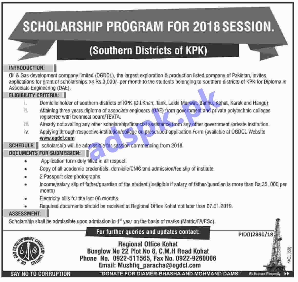 Ogdcl Scholarship Program Session 2018 For Southern Districts Of Kpk