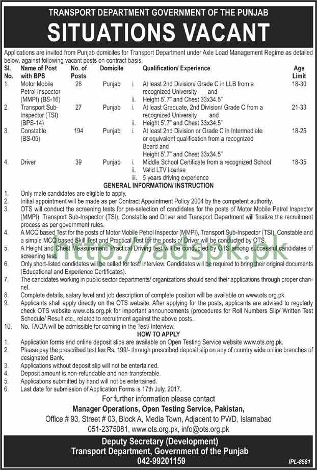 OTS Jobs Transport Department Government of Punjab Jobs 2017 Written Test MCQs Syllabus Paper for Motor Mobile Petrol Inspector MMPI Transport Sub Inspector TSI Constable Driver Jobs Application Form Deadline 17-07-2017 Apply Now by Open Testing Service