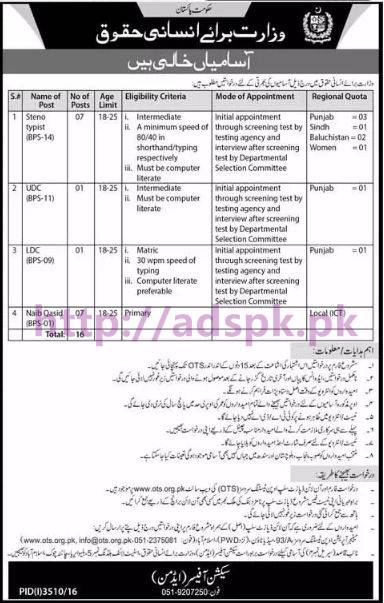 OTS New Careers Excellent Jobs Ministry of Human Rights Government of Pakistan Jobs Written Test Syllabus Paper for BPS-09 to BPS-14 Steno Typist UDC LDC Naib Qasid Application Form Deadline 25-01-2017 Apply Now by Open Testing Service