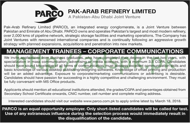 PARCO Pak Arab Refinery Limited Management Trainees Corporate Communications Jobs 2018 Jobs Application Form Deadline 18-03-2018 Apply Online Now