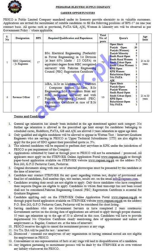 PESCO PO Box 263 GPO Peshawar Cantt Jobs 2019 STEPNEX Written Test