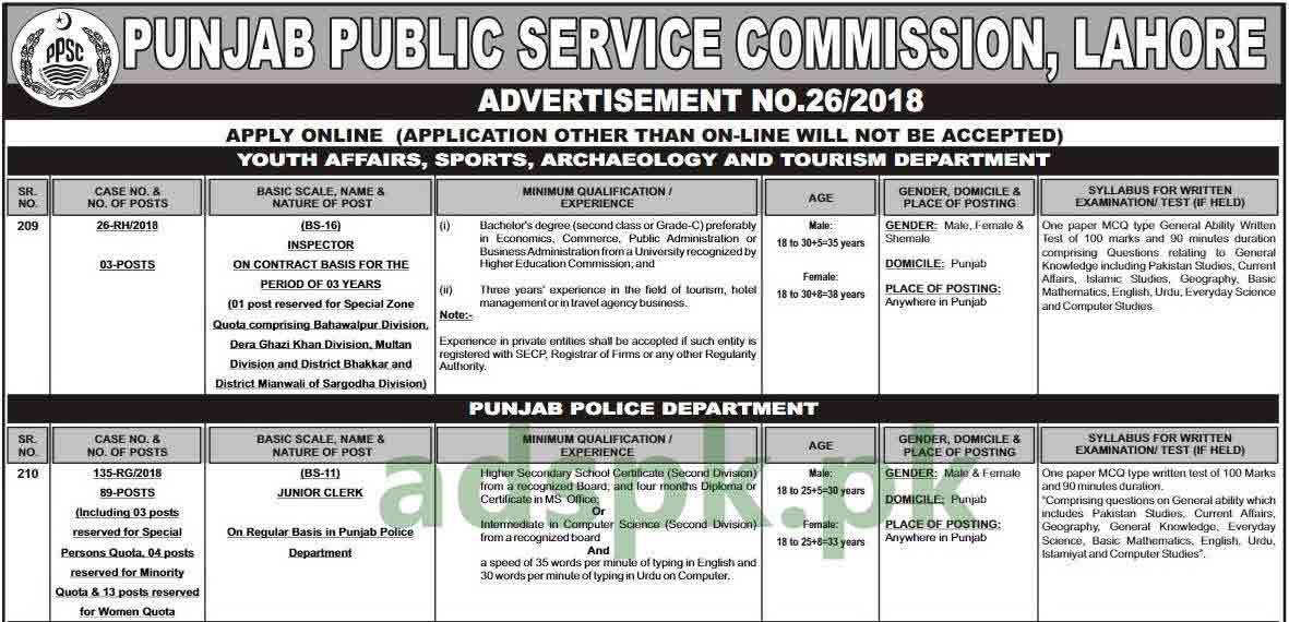 PPSC Jobs Ad No. 26-2018 Written Test MCQs Syllabus Paper Junior Clerk Punjab Police Department Jobs Application Form Deadline 17-09-2018 Apply Online Now