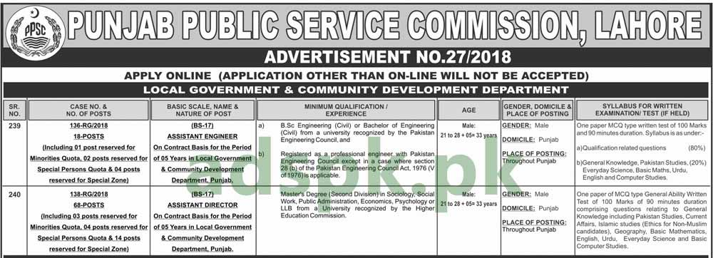 PPSC Jobs Ad No. 27/2018 Written Test MCQs Syllabus Paper for Assistant Director 68 Posts Assistant Engineer 18 Posts Local Government Department Jobs Application Form Deadline 24-09-2018 Apply Online Now