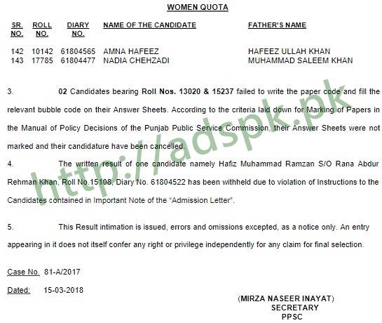 PPSC Written Test Results Junior Clerk 81A2017 Punjab Police Department Results Updated on 15-03-2018 by Punjab Public Service Commission Lahore
