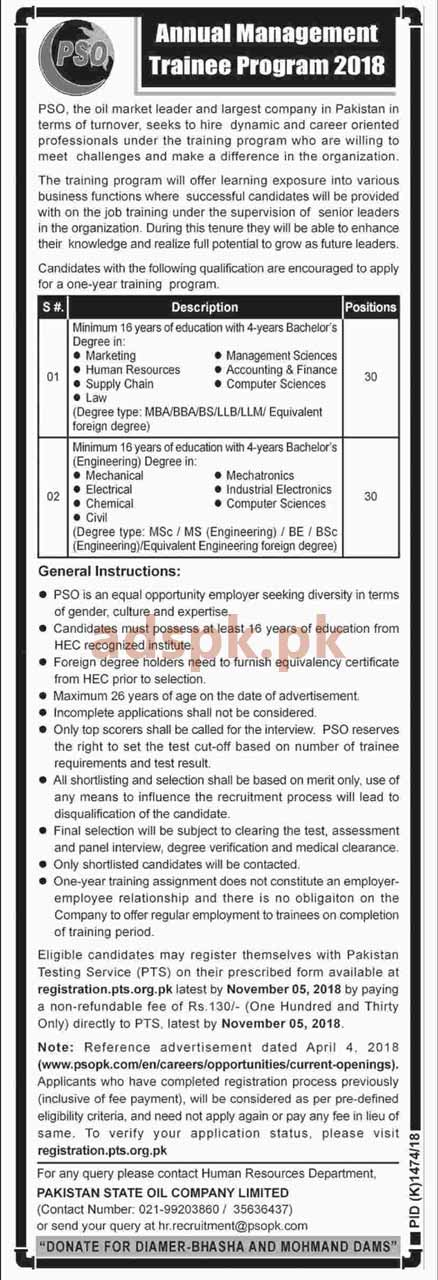 Annual Management Trainee Program PSO 2018 PTS Written Test MCQs Syllabus Paper Application Form Deadline 05-11-2018 Apply Now by PTS