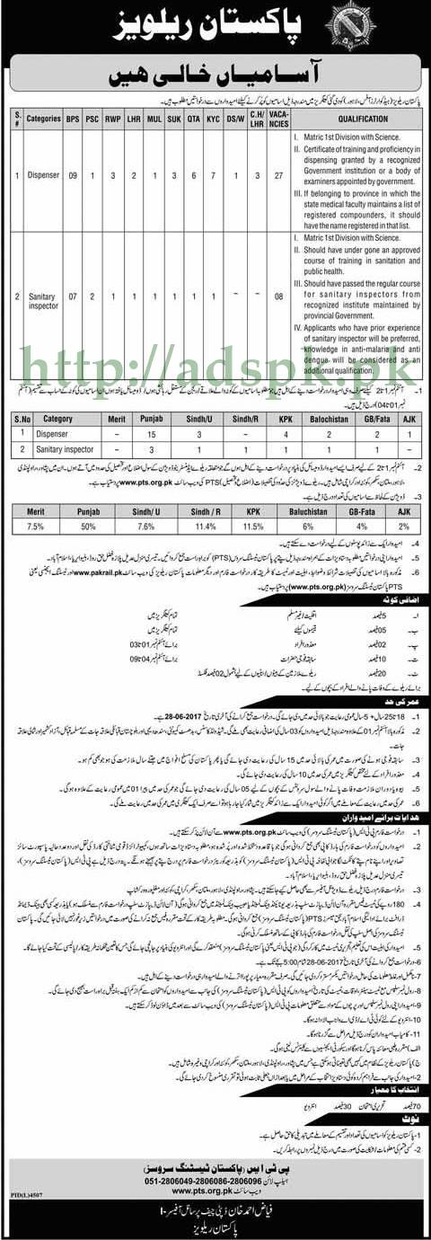 PTS Jobs Pakistan Railways Jobs 2017 Written MCQs Test Syllabus Paper for Dispenser Sanitary Inspector Jobs Application Form Deadline 28-06-2017 Apply Now by Pakistan Testing Service