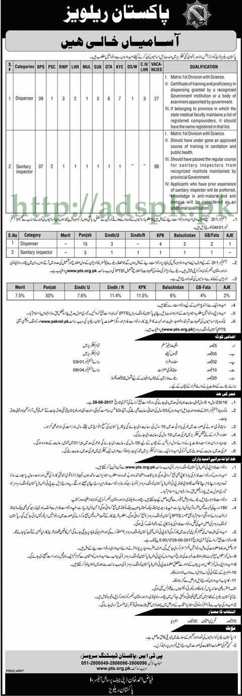 PTS Jobs Pakistan Railways Jobs 2017 Written MCQs Test Syllabus Paper for Dispenser Sanitary Inspector Jobs Application Form Deadline 28-06-2017 Apply Now by Pakistan Testing Service