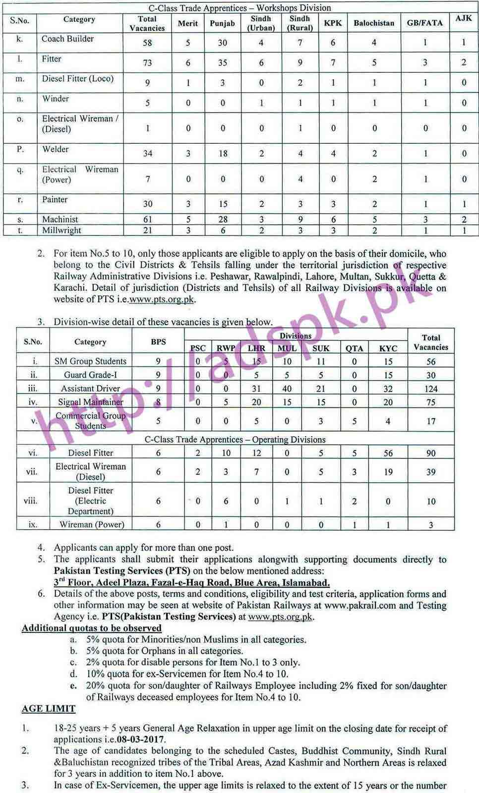 pts new career excellent jobs pakistan railways jobs 2017