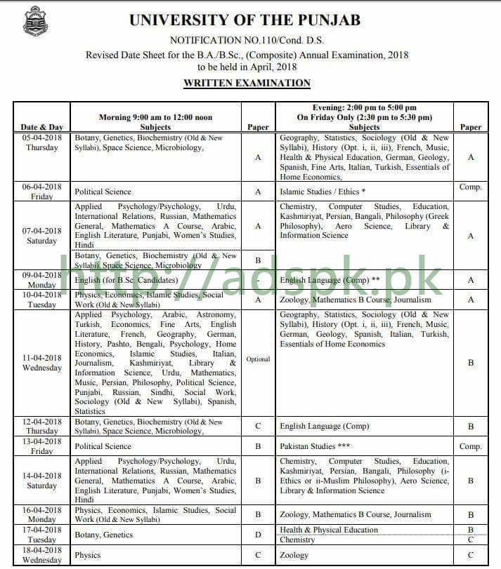 Punjab University Revised Date Sheet 2018 BA BSc Part-I Part-II and Composite Annual Exams April 2018 by PU Lahore