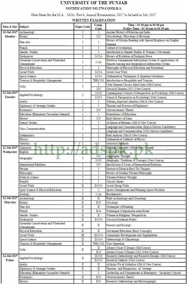 PUNJAB UNIVERSITY DATE SHEET FOR THE M.A M.SC PART-I ANNUAL EXAMINATION 2017 TO BE HELD IN JULY 2017 by PU Lahore