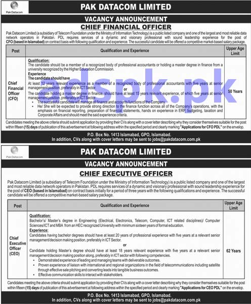 Pak Datacom Limited PO Box 1413 GPO Islamabad Jobs 2019 for Chief Financial Officer Chief Executive Officer Jobs Application Deadline 29-04-2019 Apply Now