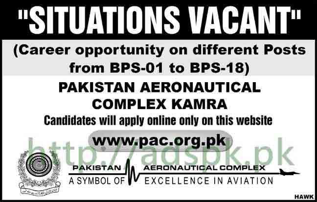 Pakistan Aeronautical Complex PAC Kamra Jobs 2018 BPS-01 to BPS-18 Apply Online Now