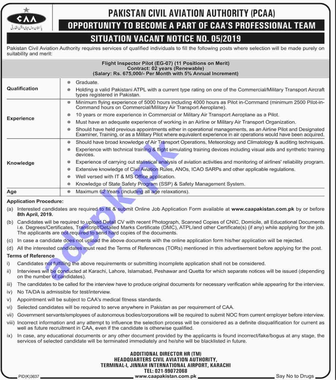 Pakistan Civil Aviation Authority PCAA Karachi Jobs 2019 for Flight Inspector Pilot 11 Posts Jobs Application Form Deadline 08-04-2019 Apply Online Now