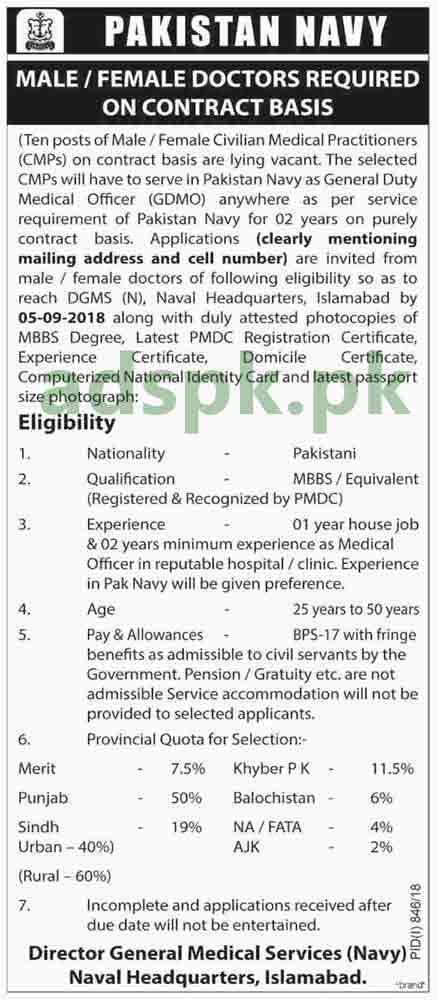 Pakistan Navy Naval Headquarters Islamabad Jobs 2018 General Duty Medical Officer GDMO Jobs Application Deadline 05-09-2018 Apply Now