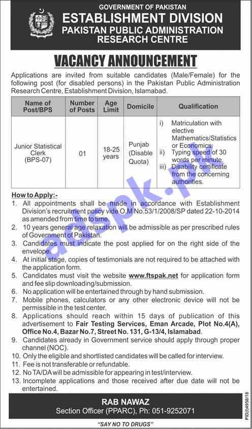 Pakistan Public Administration Research Centre PPARC Establishment Division Disable Quota Islamabad Jobs 2019 for FTSPak Written Test MCQs Syllabus Paper Junior Statistical Clerk Jobs Application Form Deadline 05-05-2019 Apply Now