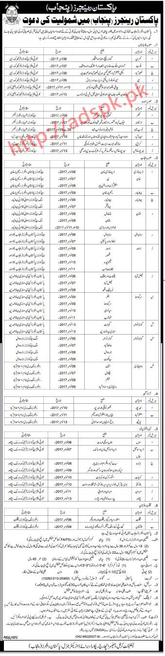 Pakistan Rangers Punjab Jobs 2017 Sipahi General Duty Recruitment Schedule November 2017 Apply Now