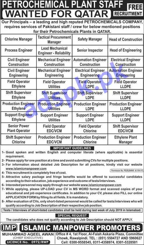Petrochemicals Plant QATAR Jobs 2019 for Managers Engineers