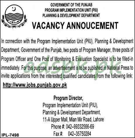 Planning & Development Department Lahore Jobs 2018 Program Officer Monitoring & Evaluation Specialist Jobs Application Apply Online Now
