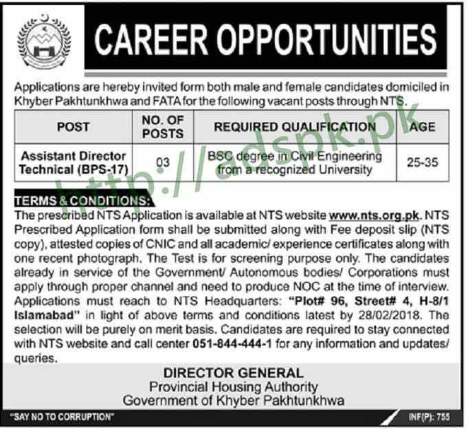 Provincial Housing Authority KPK FATA Jobs 2018 NTS Written Test MCQs Syllabus Paper Assistant Director Technical Jobs Application Form Deadline 28-02-2018 Apply Now by NTS Pakistan