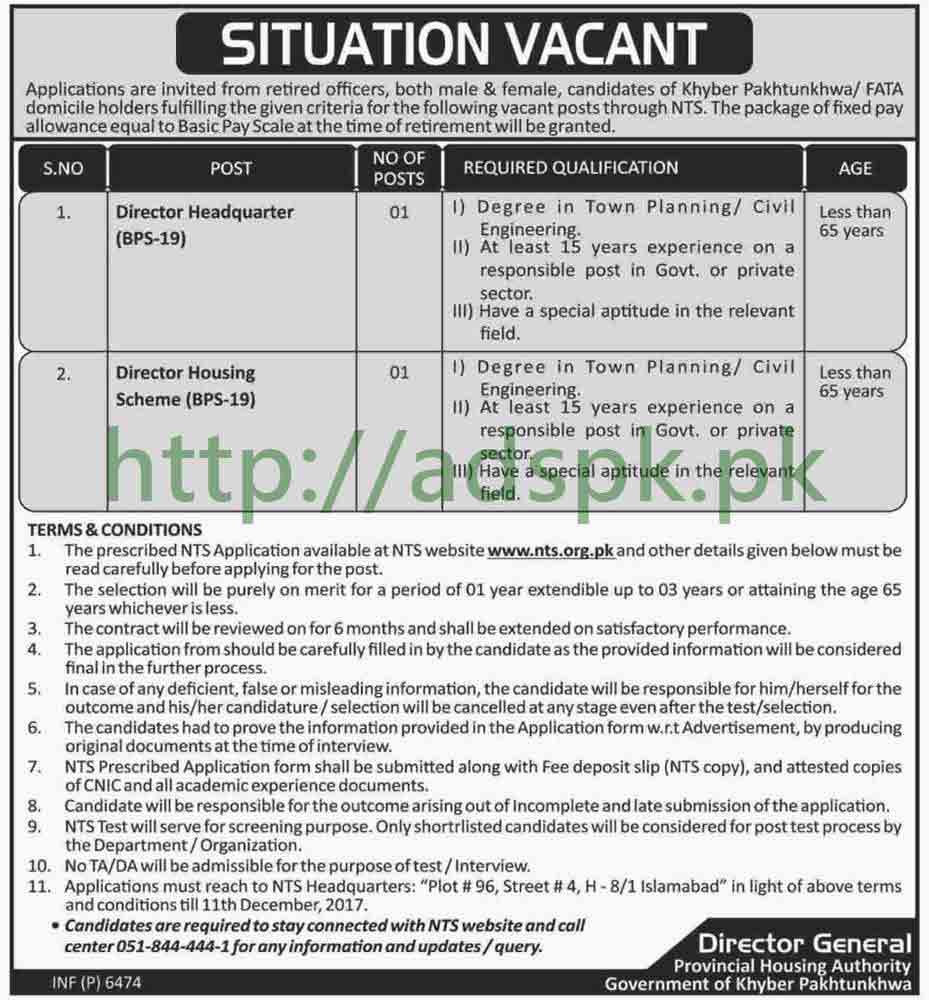 Provincial Housing Authority PHA KPK Jobs 2017 NTS MCQs Written Test Syllabus Paper Director Headquarter Director Housing Scheme Jobs Application Form Deadline 11-12-2017 Apply Now by NTS Pakistan