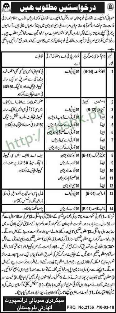 Provincial Transport Authority Balochistan Quetta Jobs 2018 Accountant Assistant Computer Operator Junior Clerk Jobs Application Deadline 27-03-2018 Apply Now