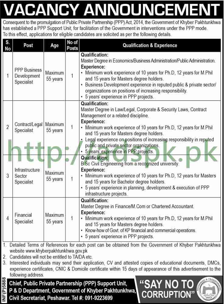Public Private Partnership PPP Support Unit P&D Department Peshawar KPK Jobs 2017 PPP Business Development Specialist Contract Legal Specialist Financial Specialist Jobs Application Deadline 27-10-2017 Apply Now