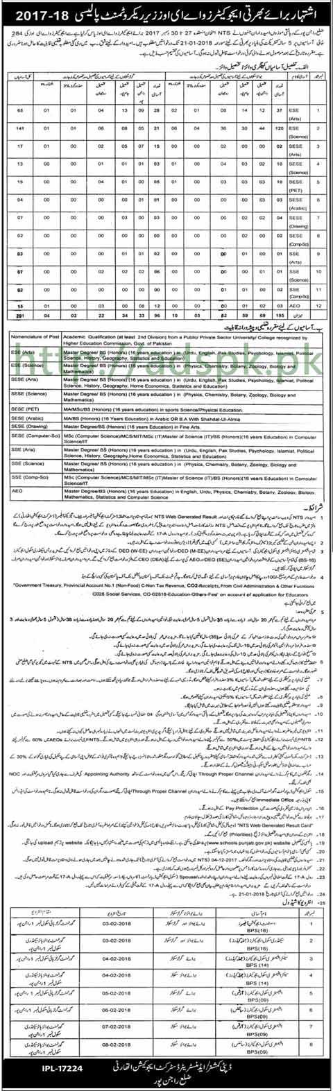 Punjab Educators District Rajanpur Jobs 2018 Interview Schedule Educators AEOs Tehsil wise (291 Vacancies) Jobs Application Deadline 21-01-2018 Apply Now