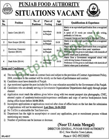 Punjab Food Authority PFA Jobs 2018 Junior Clerk Store Keeper Jobs Application Deadline 16-04-2018 Apply Now