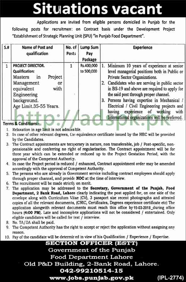 Punjab Food Department Lahore Jobs 2018 Project Director Jobs Application Deadline 19-03-2018 Apply Now