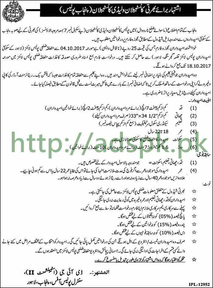Punjab Police Latest 8200 Jobs 2017 Constables Lady Constables Recruitment without District Narowal Jobs Application Form Last Date 18-10-2017 Apply Now by CPO Office Lahore