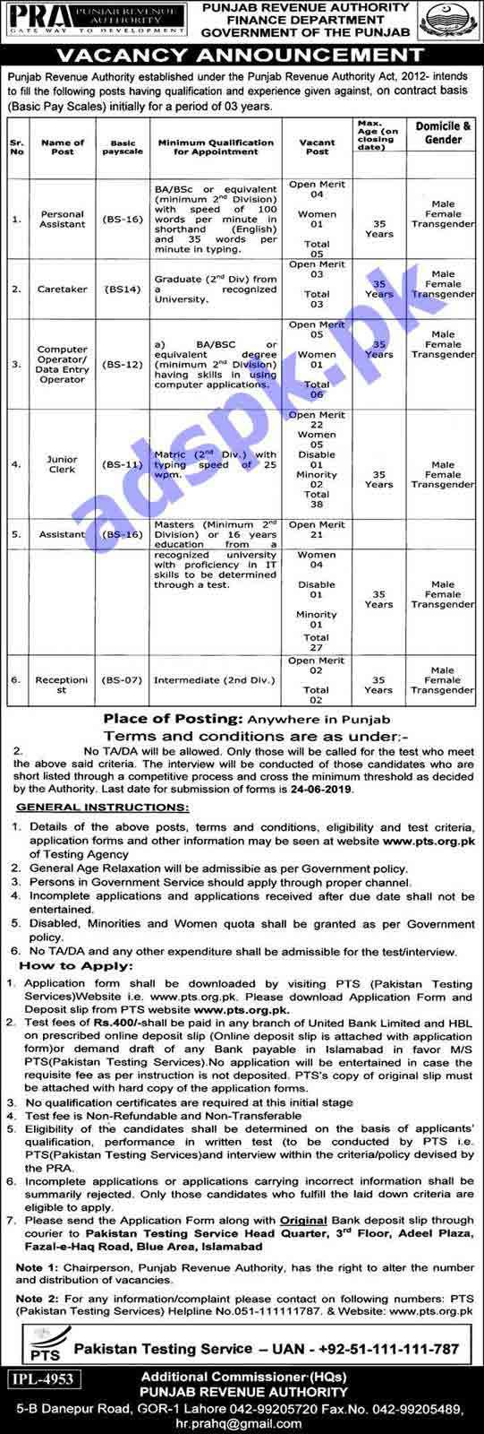 102 Jobs Punjab Revenue Authority Finance Department Jobs 2019 PTS