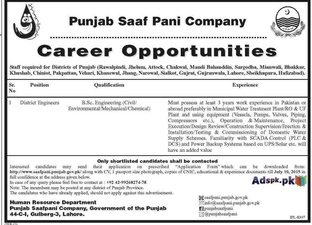 punjab saaf pani company jobs application for district